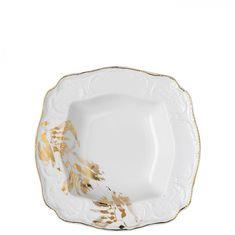Фарфоровый салатник квадратный 26 см МИДАС, белый цвет с золотым, от Rosenthal