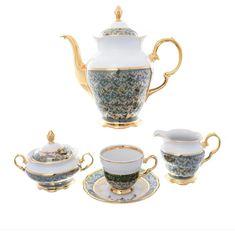 Кофейный фарфоровый сервиз ЗЕЛЕНЫЙ ЛИСТ от Sterne porcelan на 6 персон, 17 предметов
