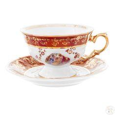 Набор чайных пар 240 мл ФРЕДЕРИКА МАДОННА, КРАСНАЯ расцветка от Carlsbad, 6 пар