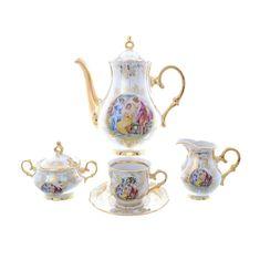 Кофейный сервиз мокко МАДОННА от Queens Crown (Prince Porcelain) на 6 персон, 17 предметов