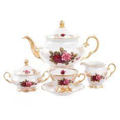 Чайный сервиз ФРЕДЕРИКА РОЗА ПЕРЛАМУТР от Roman Lidicky на 6 персон, 17 предметов