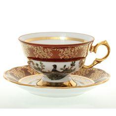 Набор чайных пар 220 мл ОХОТА КРАСНАЯ расцветка от Queens Crown (Prince Porcelain), 6 пар