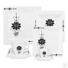 Чайно-столовый сервиз ЧЕРНЫЙ ЛОТОС от Oxford на 6 персон, 42 предмета, керамика