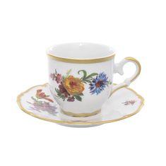 Набор кофейных пар мокко 110 мл МЕЙСЕНСКИЙ БУКЕТ от Queen's Crown, 6 пар