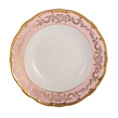 Набор глубоких тарелок 24 см ЮВЕЛ РОЗОВЫЙ от Weimar Porzellan, 6 шт., фарфор