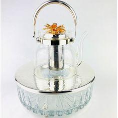 Стеклянный чайник заварочный с подставкой ЦВЕТОК от Select