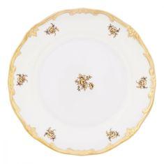 Набор тарелок 19 см РОЗА ЗОЛОТАЯ (глянцевый декор) от Weimar Porzellan, фарфор, 6 шт.