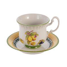 Набор чайных пар 200 мл СОНАТА, ФРУКТЫ (декор 2703, ЛИМОН) от Leander, фарфор, 6 пар