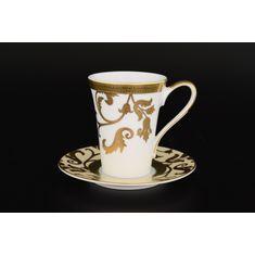 Набор кофейных пар 110 мл TOSCA CREME GOLD от Falkenporzellan, 6 пар (круглые блюдца)