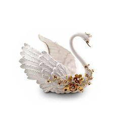 Статуэтка ЛЕБЕДЬ GIARDINO от Migliore, керамика, декор - золото, кристаллы Swarovski