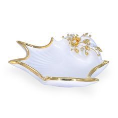 Керамическая ракушка с цветком LAGUNA от Migliore, диаметр 35 см, белый цвет, декор - золото, Swarovski