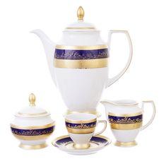 Кофейный сервиз CONSTANZA COBALT GOLD 9320 от Falkenporzellan на 6 персон, 17 предметов