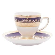 Набор фарфоровых кофейных пар 110 мл CONSTANZA COBALT GOLD 9320 от Falkenporzellan, 6 пар