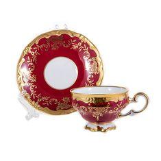 Набор кофейный мокко 100 мл ЮВЕЛ КРАСНЫЙ от Weimar Porzellan на 6 персон, 12 предметов, подарочная упаковка