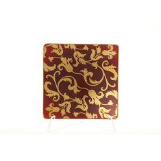 Набор квадратных блюдец 15 см TOSCA BORDEAUX GOLD от Falkenporzellan, 6 шт.