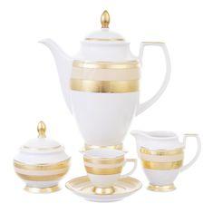 Кофейный сервиз CONSTANZA CREME GOLD 9321 от Falkenporzellan на 6 персон, 17 предметов