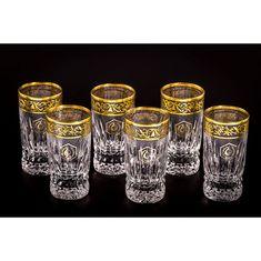 Хрустальная стопка для водки, коллекция ВИКТОРИЯ, от Cristallerie de Montbronn, отделка - золото