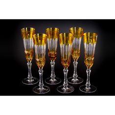 Хрустальный бокал для шампанского, коллекция ТОККАТА, от Cristallerie de Montbronn, янтарный цвет