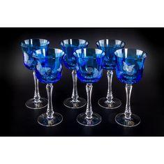 Хрустальный бокал для воды, коллекция БАБОЧКИ, от Cristallerie de Montbronn, голубой цвет