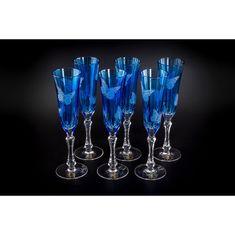 Хрустальный фужер для шампанского, коллекция БАБОЧКИ, от Cristallerie de Montbronn, голубой цвет