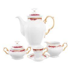 Кофейный сервиз МАРИЯ-ЛУИЗА КРАСНАЯ ЛИЛИЯ от Thun 1794 a.s. на 6 персон, 17 предметов
