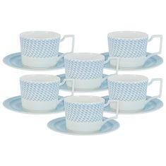 Чайные фарфоровые пары БЛЮЗ от Naomi на 6 персон, 12 предметов