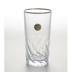 Набор хрустальных стаканов 350 мл для воды ПАЛЕРМО, декор платина, 6 шт.
