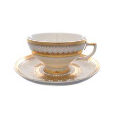 Набор чайных пар CREME EMPIRE GOLD от Falkenporzellan, 6 пар