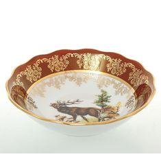 Набор салатников 16 см ОХОТА КРАСНАЯ расцветка от Queens Crown (Prince Porcelain)