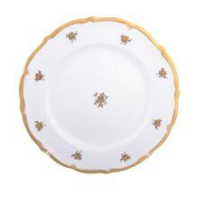 Набор фарфоровых тарелок 25 см ЗОЛОТАЯ РОЗА от Queen's Crown, 6 шт.