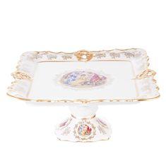Блюдо фигурное квадратное 32 см МАДОННА ПЕРЛАМУТР от Queens Crown (Prince Porcelain)