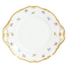 Тарелка для торта 27 см МЕЛКИЕ ЦВЕТЫ от Queen's Crown (Prince Porcelain), фарфор