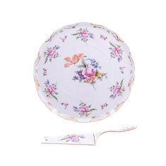 Тарелка для торта 28 см (ровный край) с лопаткой ПОЛЕВОЙ ЦВЕТОК от Queen's Crown, фарфор