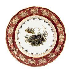 Набор фарфоровых тарелок 21 см ФРЕДЕРИКА ОХОТА КРАСНАЯ расцветка от Roman Lidicky, 6 шт.