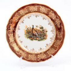 Набор фарфоровых тарелок 19 см ОХОТА КРАСНАЯ расцветка от Queens Crown (Prince Porcelain), 6 шт.