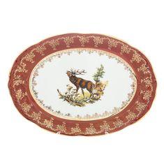 Блюдо фарфоровое овальное 38 см ОХОТА КРАСНАЯ расцветка от Queen's Crown (Prince Porcelain)