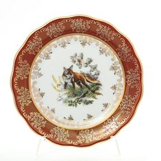 Набор фарфоровых тарелок 17 см ОХОТА КРАСНАЯ расцветка от Queen's Crown (Prince Porcelain), 6 шт.