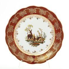 Набор фарфоровых тарелок 21 см ОХОТА КРАСНАЯ расцветка от Queens Crown (Prince Porcelain), 6 шт.