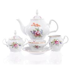 Чайный фарфоровый сервиз ПОЛЕВОЙ ЦВЕТОК от Bernadotte на 6 персон, 17 предметов
