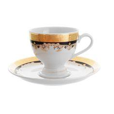 Набор кофейных пар 150 мл КРИСТИНА, декор - черная лилия, от Thun 1794 a.s., 6 пар