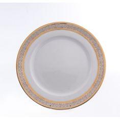 Набор фарфоровых тарелок 25 см ОПАЛ широкий кант платина-золото от Thun 1794 a.s., 6 шт.