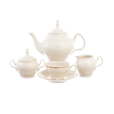 Чайный сервиз БЕЛЫЙ УЗОР ЗОЛОТОЙ КАНТ от Bernadotte на 6 персон, 17 предметов, фарфор цвета слоновой кости