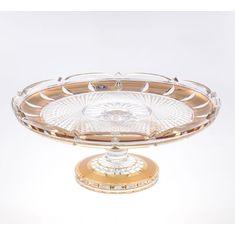 Хрустальная тортница 30 см на ножке ФЕЛИЦИЯ, декор ЗОЛОТЫЕ ОКОШКИ, от Crystal Heart