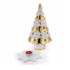 Сувенир-подсвечник елочка CHRISTMAS от Migliore, высота 30 см, керамика, цвет - белый с золотом