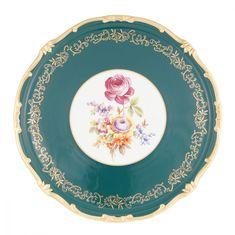 Блюдо для торта 33 см САНКТ-ПЕТЕРБУРГ, ЗЕЛЕНЫЙ декор от Weimar Porzellan, фарфор