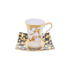 Набор кофейных пар 110 мл (квадратные блюдца) TOSCA BLACK GOLD от Falkenporzellan, фарфор, 6 пар