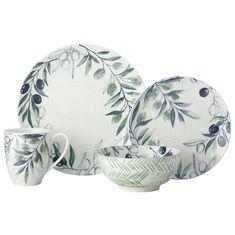 Набор фарфоровой посуды ОЛИВКОВАЯ РОЩА от Maxwell & Williams на 4 персоны, 16 предметов, подарочная упаковка