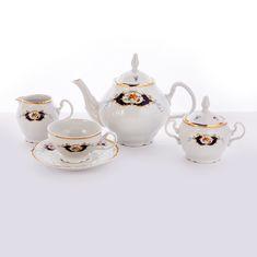 Фарфоровый чайный сервиз СИНИЙ ГЛАЗ от Bernadotte на 6 персон, 15 предметов