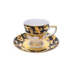 Набор кофейных пар 110 мл (круглые блюдца) TOSCA BLACK GOLD от Falkenporzellan, фарфор, 6 пар