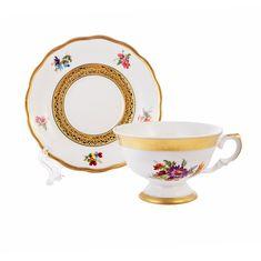 Набор чайных пар 200 мл АЛЯСКА 2714, цвет фарфора - белый, от Epiag на 6 персон, 12 предметов